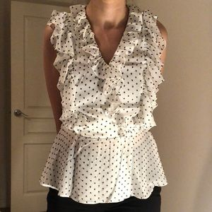 White with black dots ruffle blouse